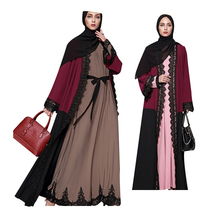 Modest Wholesale Maxi Muslim fashion women islamic clothing lace block color dubai abaya