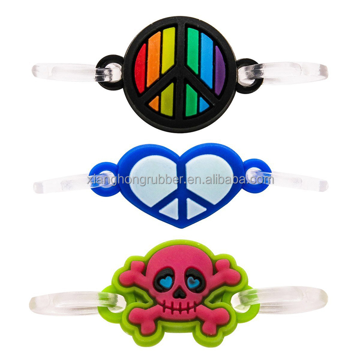 Rainbow Peace, Blue Heart and Red Skull Charm Pendant Cute Silicone Double Loop Dangle Charms