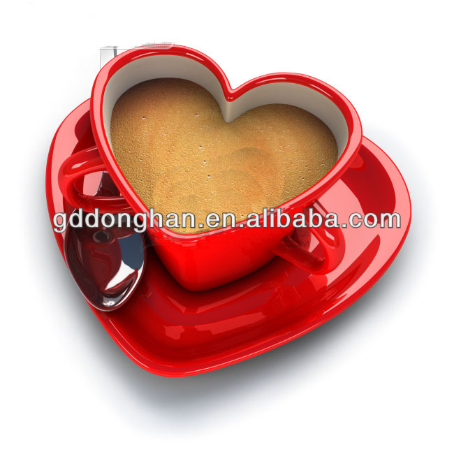 China manufacturer factory direct wholesale new design birthday gift heart shape ceramic couple mug with two handle