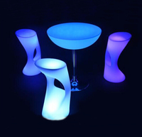 2017 OEM plastic LED Bar molded furniture party led table and chair set