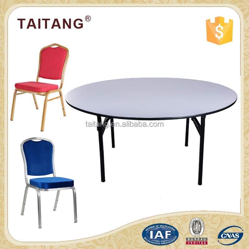 Chinese wholesale plywood banquet table and metal stackable chair
