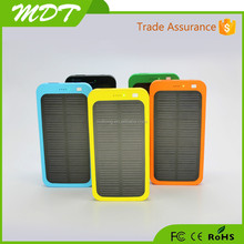 Wholesale -2015 Hot 5000mAh 2 USB Port Solar Power Bank Charger External Backup Battery With Retail Box For iPhone iPad Samsung