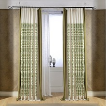 2-Pieces Linen/Cotton Pastoral Embroidered Window Curtains Living Room Cutains Window Drapes Custom-made Shading Rate 40-70%