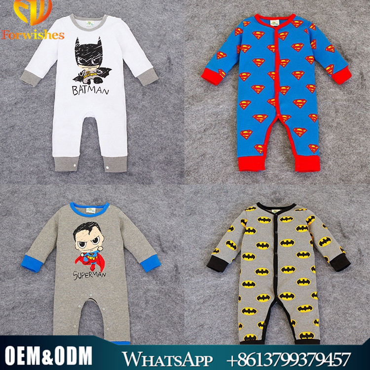 Autumn & Winter New Design Newborn Baby Cartoon Rompers Clothes Baby Bodysuit Jumpsuit Toddlers Long Sleeve Superman Rompers