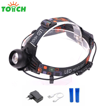 Zoomable LED head lamp USB rechargeable battery 1000 lumen LED headlamp with spot size and intensity adjusted