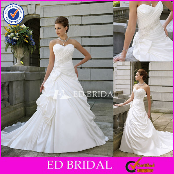 XL0101 Popular Ruched Bodice Caught-up Skirt Wholesale Wedding Dresses For Fat Woman