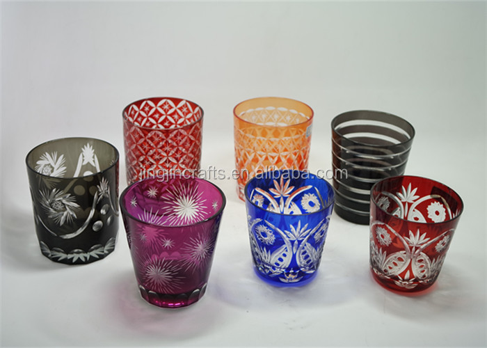 Purple red hand carved glass cup,drinking glass,hand engraved glass tumbler