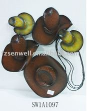antique western cowboy hats wall decor