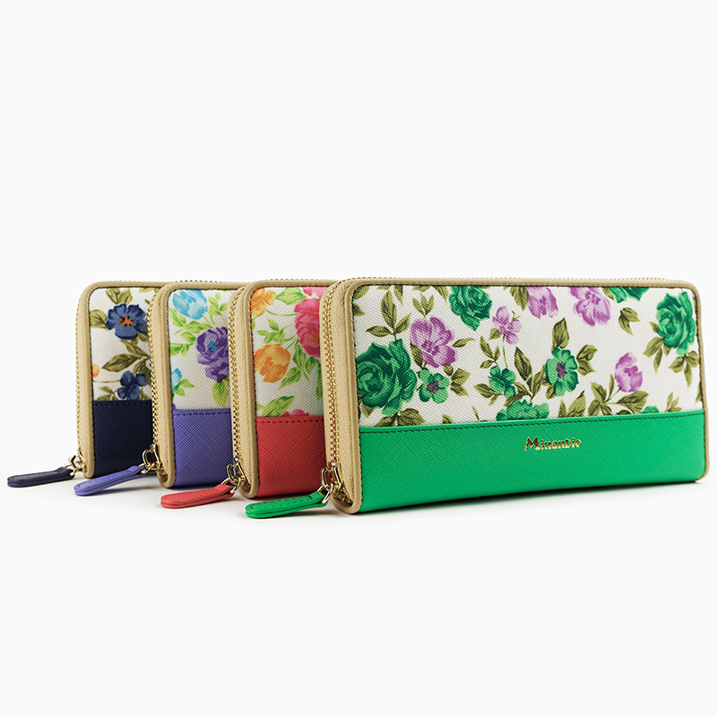 Guangzhou Wholesale Pu leather embossed flowers long wallet clutches hand wallet