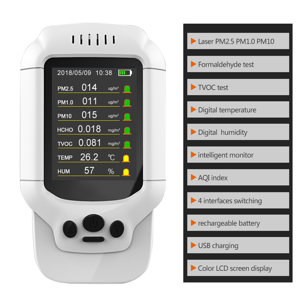 Portable gas detector PM2.5 PM1.0 PM10 HCHO TVOC AQI air detector with Temperature and humidity