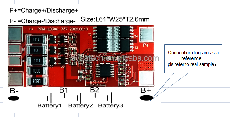 3S7A PCM BMS for 11.1V Li-ion /Li-polymer LiFePO4 Battery pack