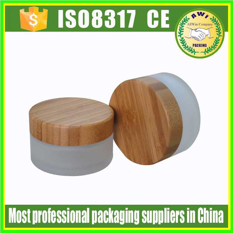 wooden cream jar hot sale bamboo cosmetic cream jar 50g body scrub jars glass