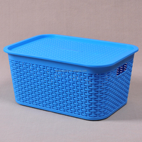 Plastic Rattan Style Laundry Basket With Lid - Blue