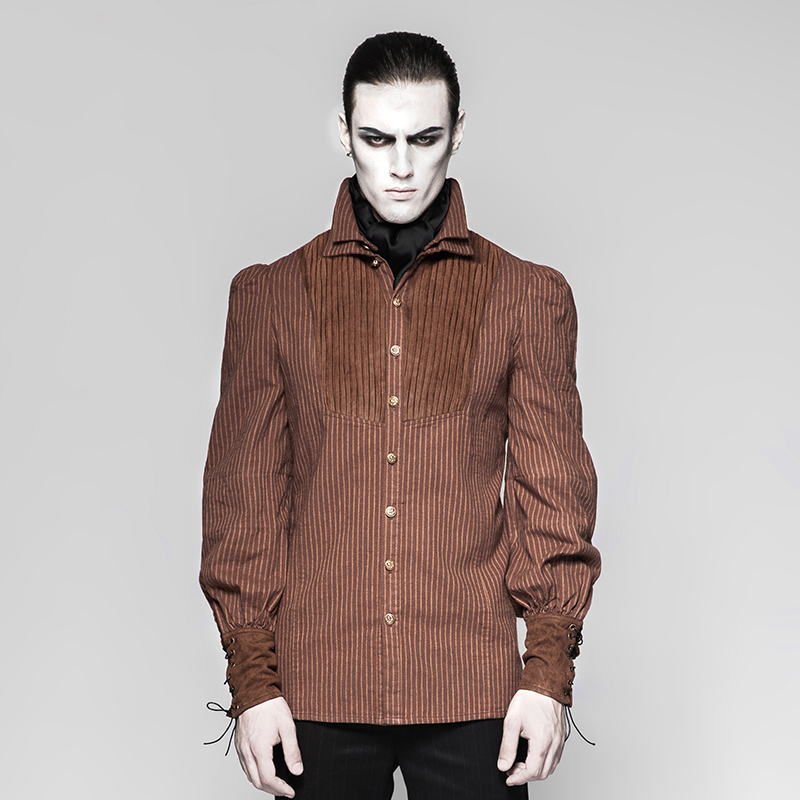 Y-755 PUNK RAVE Classic Italian Corduroy Men Cheap Long Sleeve Brown <strong>Shirt</strong>