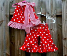Turkey girls party suits plain red and white polka dots skirt harem pants with big bow
