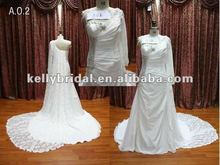 Short Front Long Back Wedding Dress One-shoulder Long Sleeve
