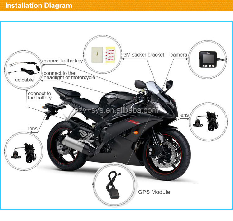 2.0 inch waterproof lens dual camera full hd 720P motorcycle / car camera recorder with gps/touch screen