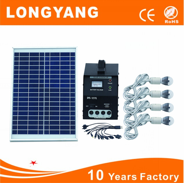 30w solar panal led solar home system with 4led lighting bulb and mobile charger
