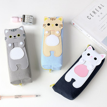 Wholesale large cute kitten pencil case lovely cat canvas pencil case for kids
