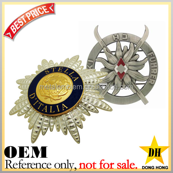 special cheap security army custom enamel metal military cap badge