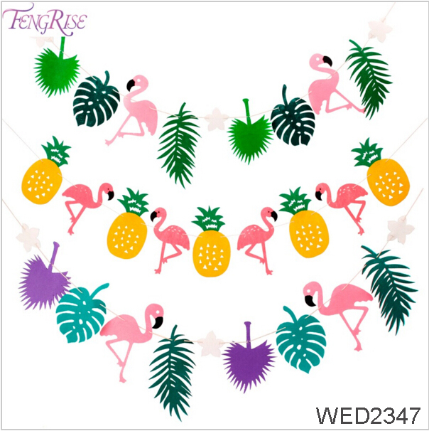 FengRise Non Woven Leave Bunting Garland Flamingo Fabric Banner Party Favors Wedding Decoration