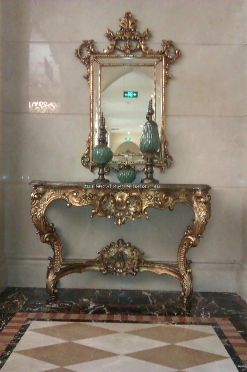 Salon Ensemble De Meubles Antique Table De Console avec Miroir Encadré