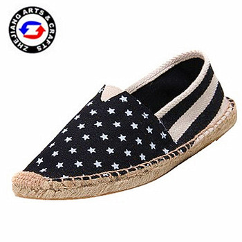 2015 Wholesale comfortable star print canvas handmade hemp shoe for men