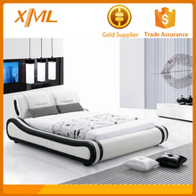 latest leather wave modern bed designs