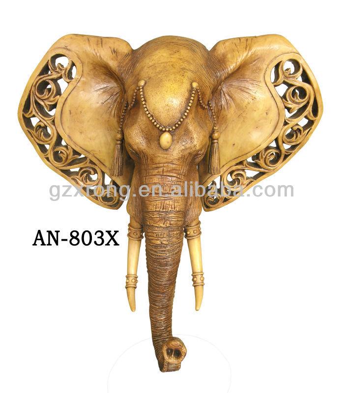 Elephant t te d 39 un animal d coration murale r sine - Tete d animal murale ...