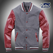 varsity jacket with red leather sleeves for baesball jacket and college jacket