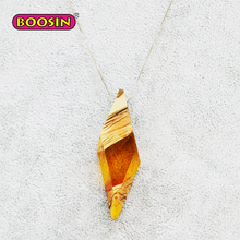100%Handmade High Quality Wood Clear Resin Pendant Necklace