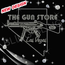 Rhinestone gun iron on custom transfer design for clothing