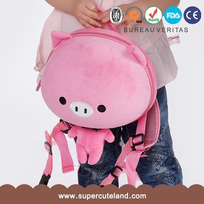 Kids Baby Bags Comfortable cute design EVA Plush Pink Pig china school backpack