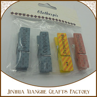 durable high quality letter themed printed wooden clothespins decorated clothes clothespins