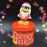 Christmas Penguin Wobble Head Removable Topper on Plastic Coin Bank Container
