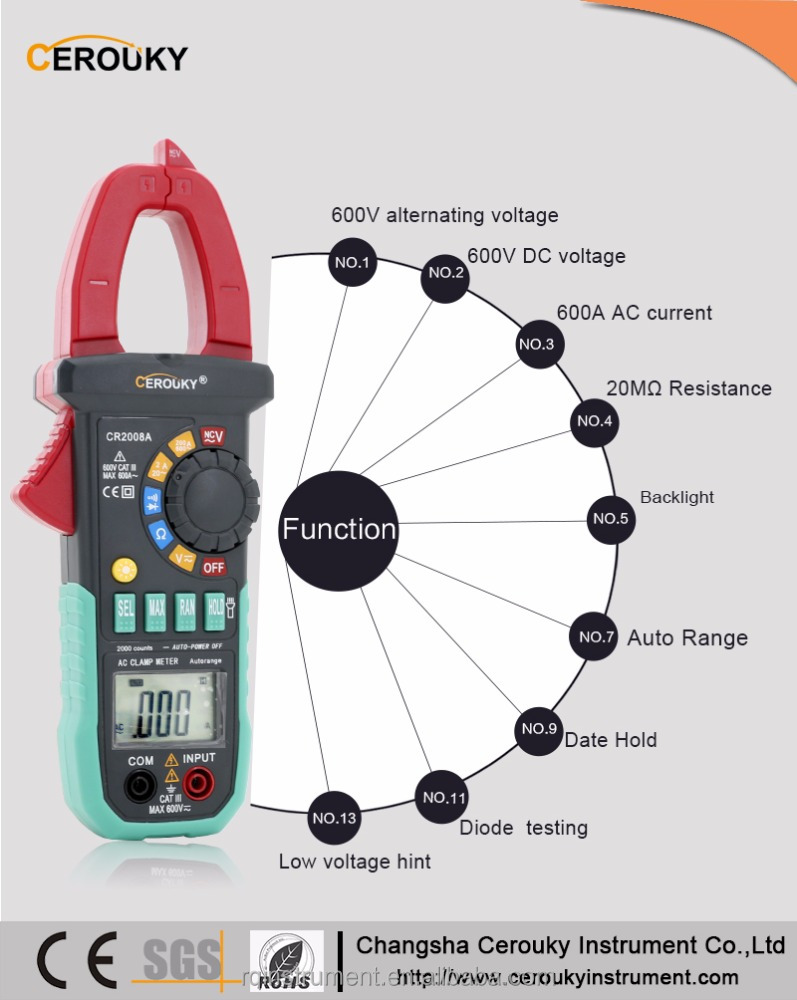 High Accurate AC/DC Digital Multimeter Electronic Tester dt266 ac dc digital clamp meter japan CR2008A