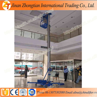 Lift height 10m high quality aluminum single mast man lift used one person