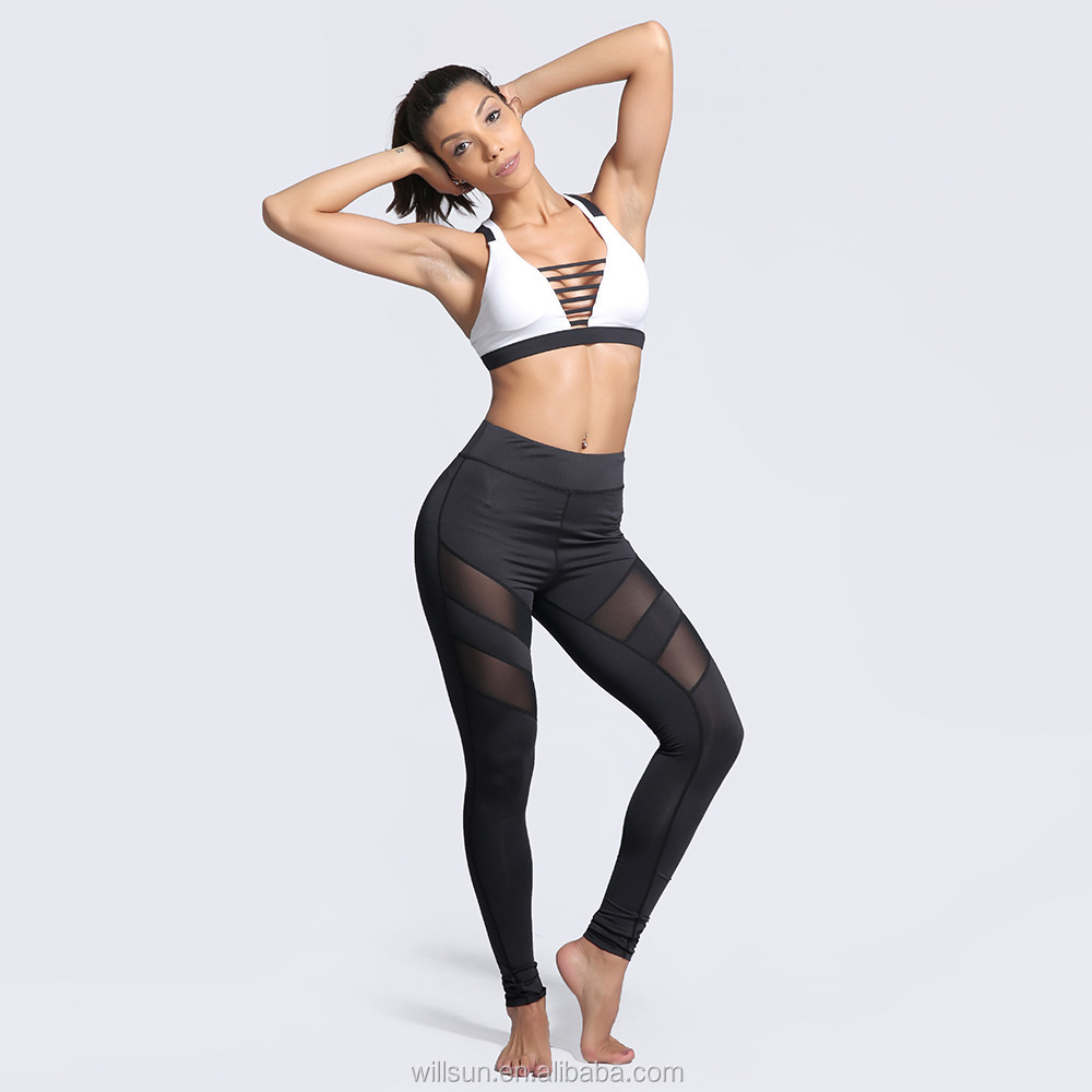 wholesale custom mesh fitness training sports colorful sexy trousers clothes women leggings jogging yoga pants athletic clothing