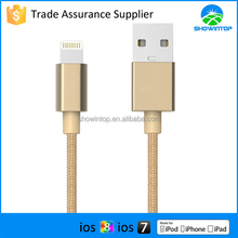 1m 2m 3m gold nylon braided cable for iphone 6 with MFI certified 8 pin sync data charger cable for iphone 5/ipad