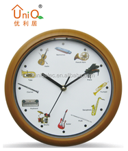 Promotional hourly music plastic wall clock