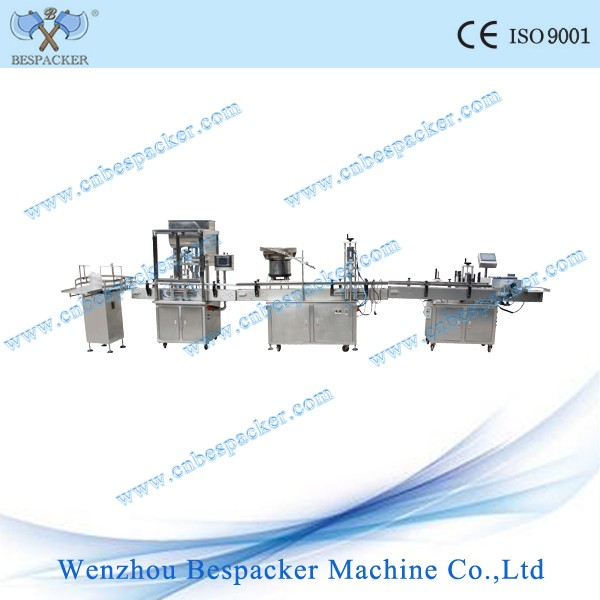 Automatic bottle filling capping and labeling production line machine