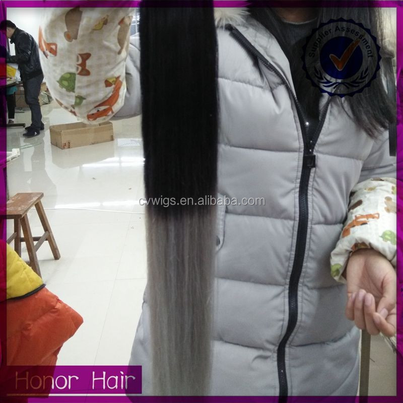 wholesale 100 human hair, micro ring hair extension, ombre color grey brazilian hair