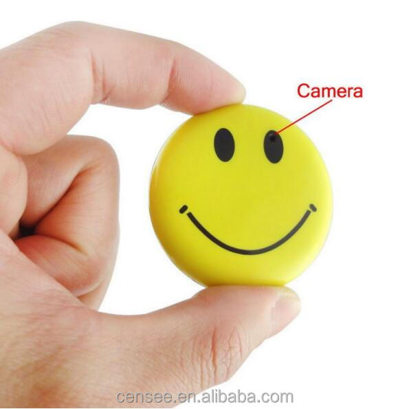 HD Mini Hidden Smile Face Badge Gadget Wearable conceal Camera Cool Mini DV DVR Camcorder Video Recorder