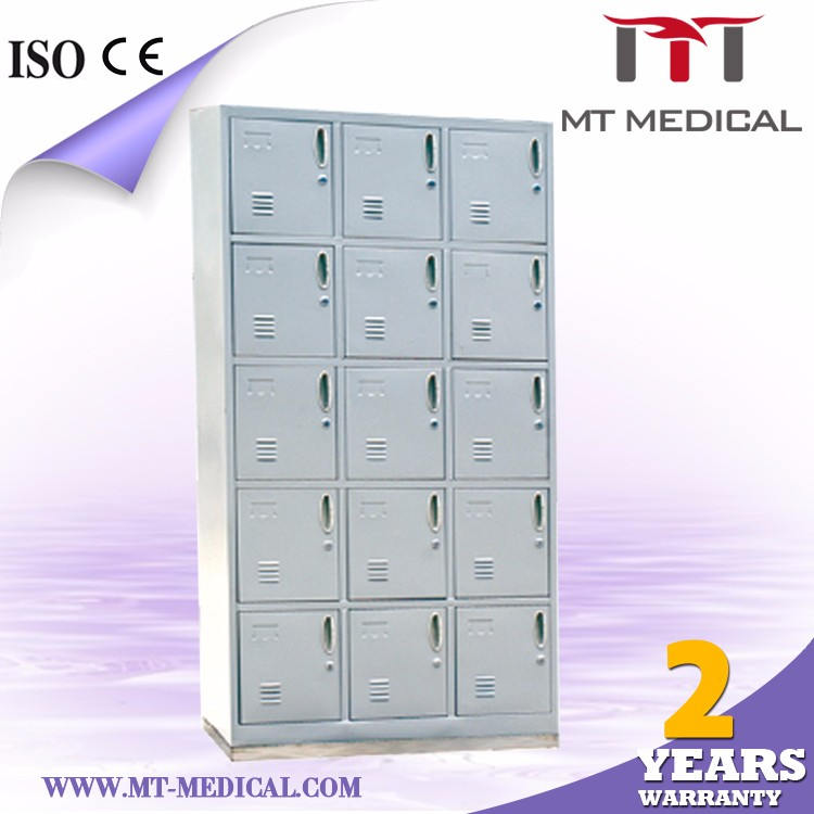 ABDF MC-8 hospital modern tall 15-doors shoe cabinet with stainless steel base