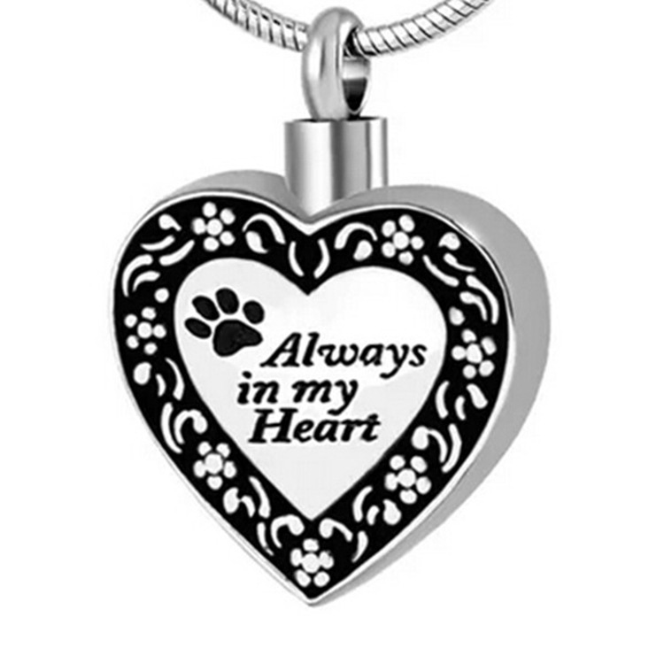 "Memory Jewelry for Pets Urn Cremation Ashes Pendant Necklace ""Always in My Heart"" Stainless Steel For Keepsake"