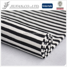 Jiufan textile black white stripe silk fabric by sweater knitting machine