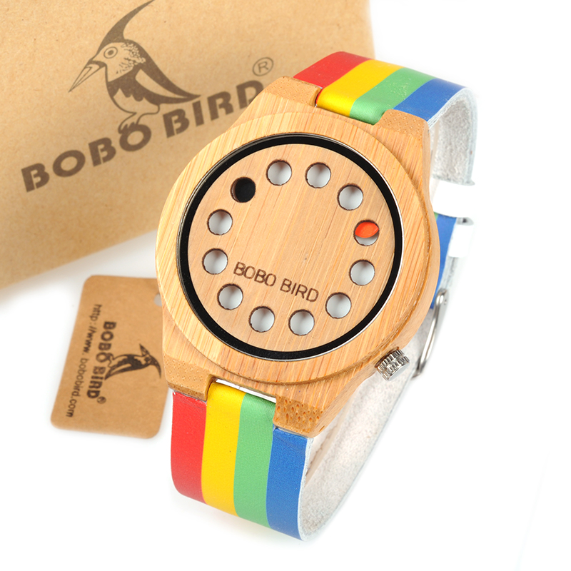BOBO BIRD 12 Holes Design Quartz Watches Colorful Band Bamboo Wooden Watch