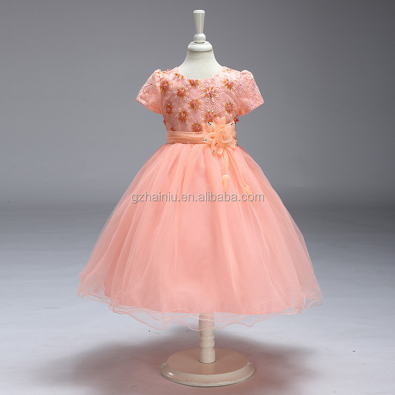 Short Sleeve Wedding Cotton Pink Gowns Beautiful Frocks For Kids With Beads and Big Flower NEW Design Girls