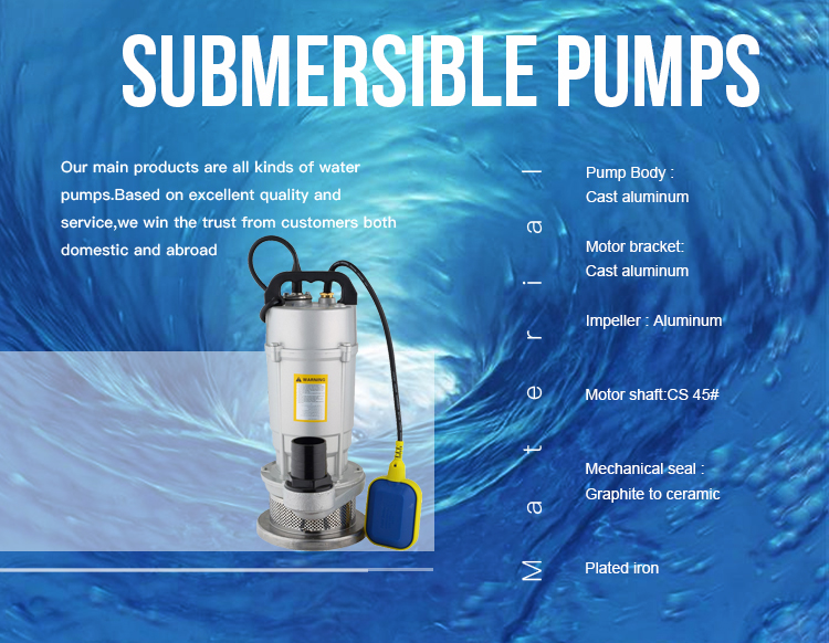 1HP Single Phase 220V 50HZ High Pressure Submersible Water Pump (QDX1.5-32-0.75)