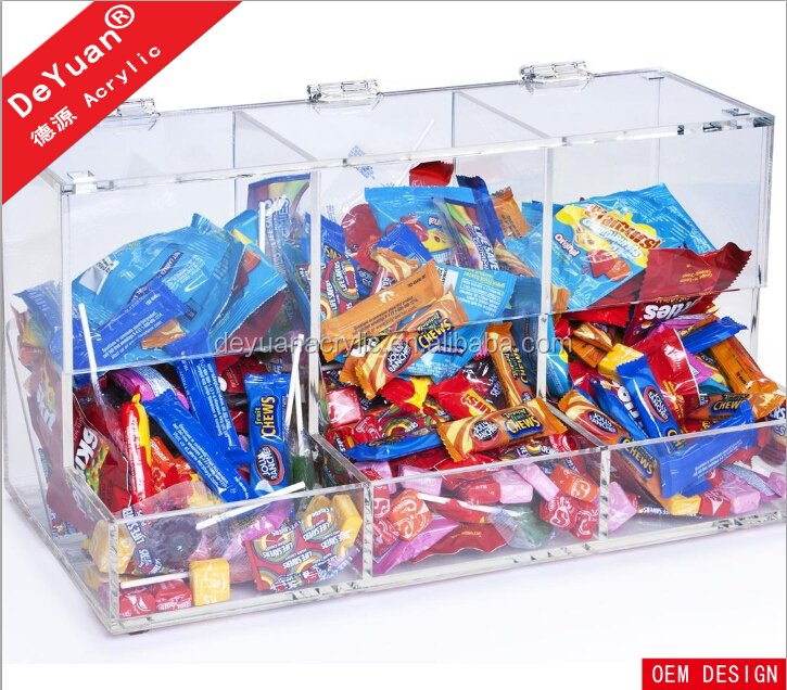 Super market acrylic candy boxes with hinged door / acrylic candy display box